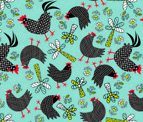 Chooks in the yard fabric by yellowstudio on Spoonflower - custom fabric