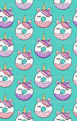 (micro scale) unicorn donuts (pink and purple) dark teal C18BS