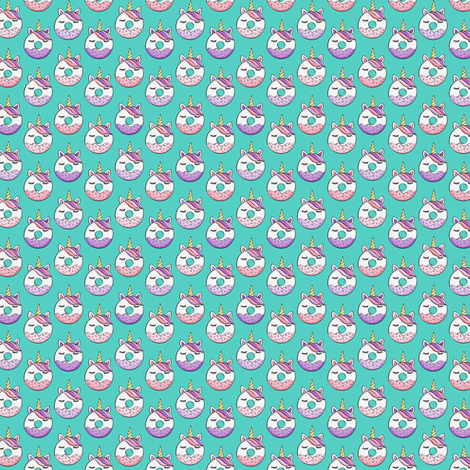 (micro scale) unicorn donuts (pink and purple) dark teal C18BS fabric by littlearrowdesign on Spoonflower - custom fabric
