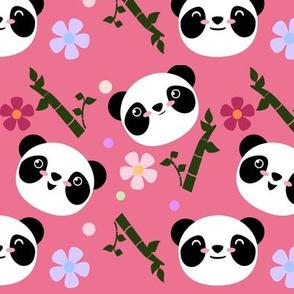 Kawaii Panda Faces in Pink