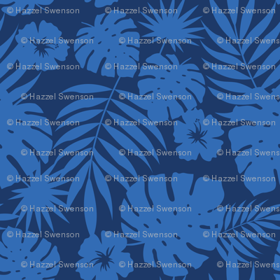 Hawaiian Leaves (navy)