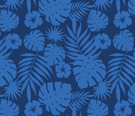 Hawaiian Leaves (navy) fabric by hazelnut_green on Spoonflower - custom fabric