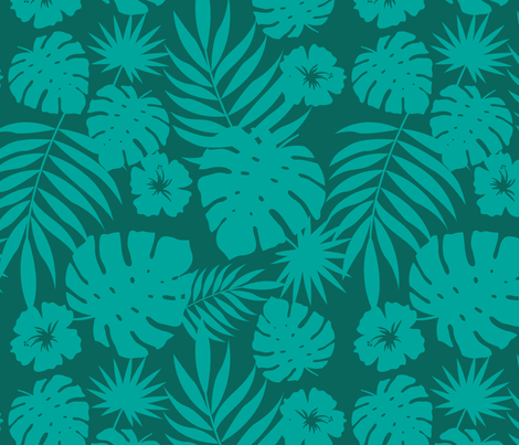Hawaiian Leaves (green) fabric by hazelnut_green on Spoonflower - custom fabric