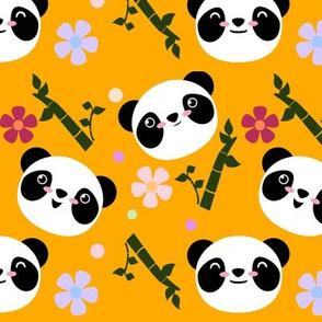 Kawaii Panda Faces in Gold