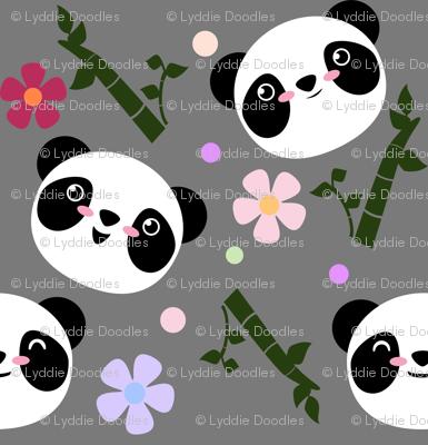 Kawaii Panda Faces in Gray