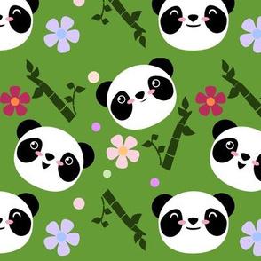 Kawaii Panda Faces in Green
