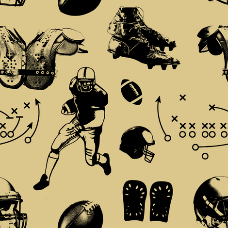 American Football // Tan // Large fabric by thinlinetextiles on Spoonflower - custom fabric