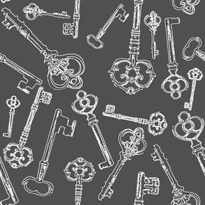 Stylized Antique Keys // Grey // Large