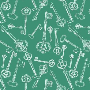 Stylized Antique Keys // Aquamarine // Small