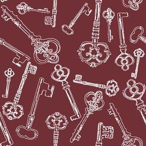 Stylized Antique Keys // Crimson // Large