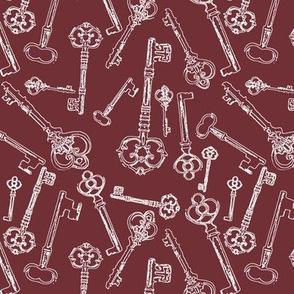 Stylized Antique Keys // Crimson // Small