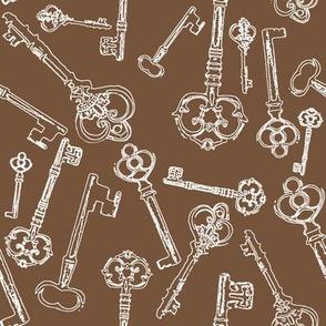 Stylized Antique Keys // Brown // Large