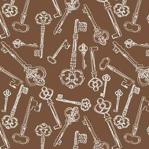 Stylized Antique Keys // Brown // Small