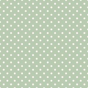 Cream Polka Dots on Green Background