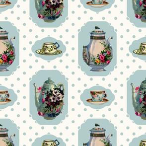 Vintage Tea Set - Cream Background