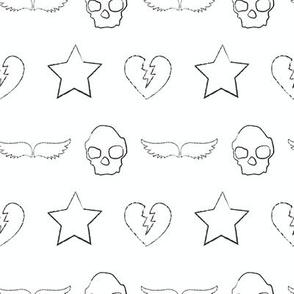 skull and star print white