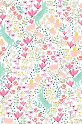 Garden bunny in soft mint + coral