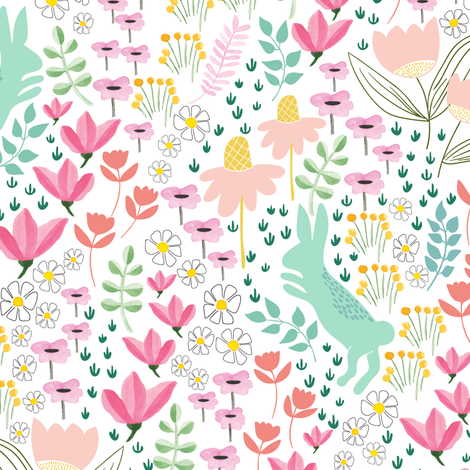 Garden bunny in soft mint + coral  fabric by thislittlestreet on Spoonflower - custom fabric