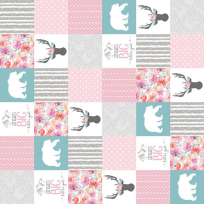 3 Inch - Dream Big Little Girl - Wholecloth Cheater Quilt - Rotated