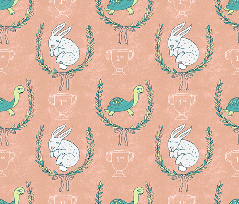 Tortoise & Hare Nursery - Peach fabric by pinky_wittingslow on Spoonflower - custom fabric