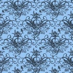 Raven Skull Damask Blue