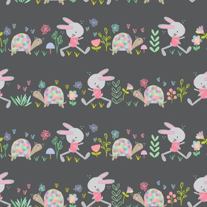 Jogging bunnies and turtles in Grey