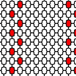 Black white red grid