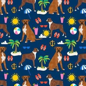 boxer beach themed summer boxers dog breed fabric navy