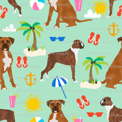 boxer beach themed summer boxers dog breed fabric mint