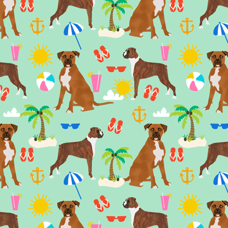 boxer beach themed summer boxers dog breed fabric mint fabric by petfriendly on Spoonflower - custom fabric