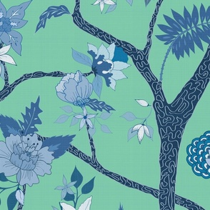 Peony Branch Mural Blues on Jade Green