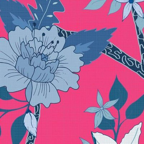 Peony Branch Mural- Blues on Raspberrry