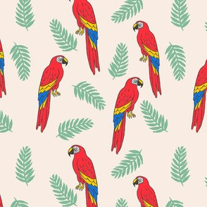 tropical bird // parrot macaw monstera palm leaf tropical fabric beige