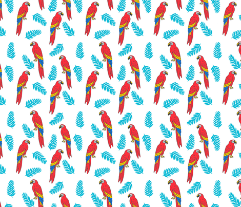 tropical bird // parrot macaw monstera palm leaf tropical fabric white red fabric by andrea_lauren on Spoonflower - custom fabric