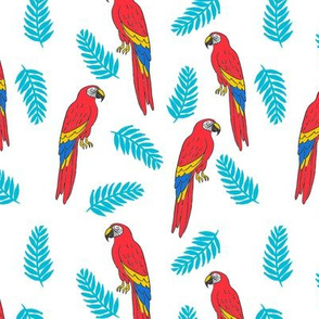 tropical bird // parrot macaw monstera palm leaf tropical fabric white red