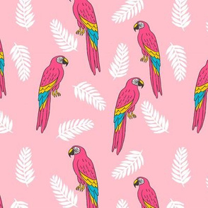 tropical bird // parrot macaw monstera palm leaf tropical fabric pink