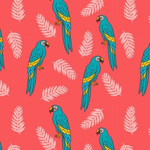 tropical bird // parrot macaw monstera palm leaf tropical fabric bright pink