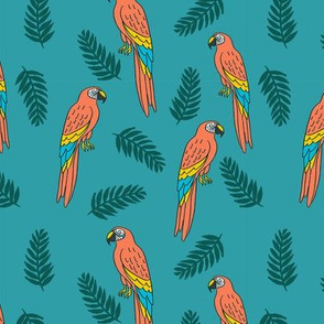 tropical bird // parrot macaw monstera palm leaf tropical fabric medium blue
