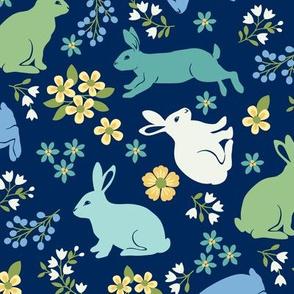 Springtime Bunnies on Blue
