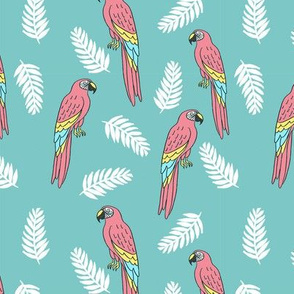 tropical bird // parrot macaw monstera palm leaf tropical fabric blue