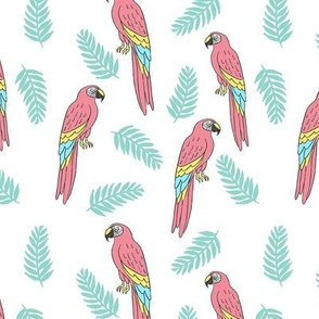 tropical bird // parrot macaw monstera palm leaf tropical fabric white blue