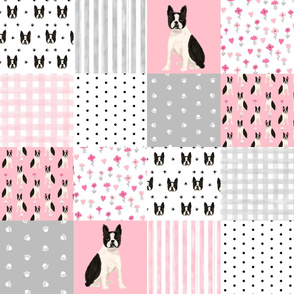 boston terrier cheater quilt squares wholecloth nursery dog fabric