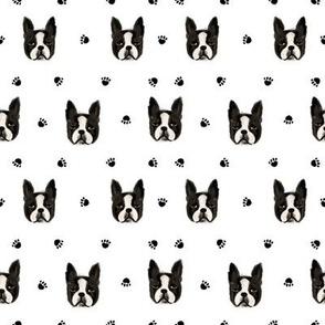 boston terrier quilt coordinates dog heads nursery dog fabric bw