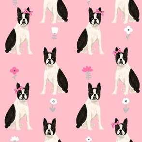 boston terrier quilt coordinates sitting dog nursery dog fabric pink