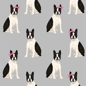 boston terrier quilt coordinates sitting dog nursery dog fabric grey