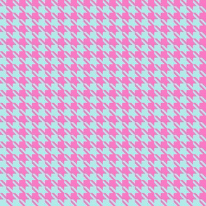 Small Pink & Aqua Houndstooth