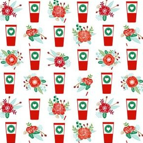 christmas coffees red cups flowers florals cute girls coffee fabric - white