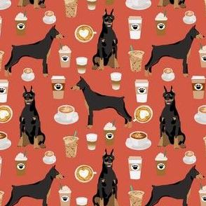 doberman dog fabric doberman pinscher rust coffee fabric (smaller)