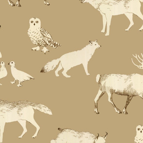 winter animals (tan)