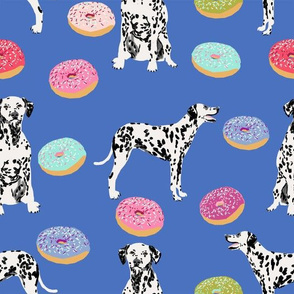 dalmatian donuts fabric - cute bright pastel dogs and donuts design - blue